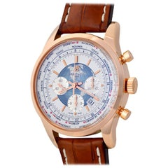 Breitling Rose Gold Transocean Chronograph Automatic Wristwatch Ref RB0510UO