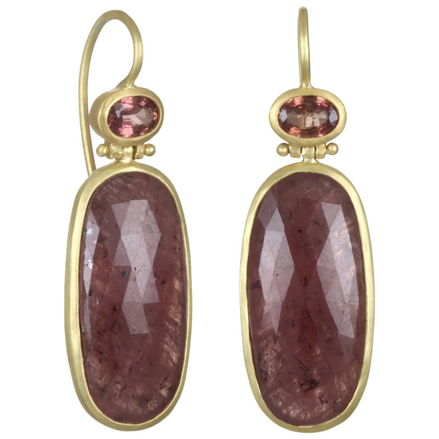 Faye Kim 18k Gold Sapphire Bezel Drop Earrings