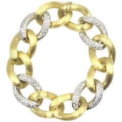 Italian Diamond 18 Karat Two-Tone Satin Finished Gold Link Bracelet