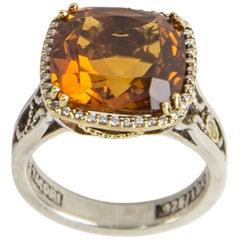 Tacori 6.15 Carat Citrine Diamond Gold Sterling Silver Ring