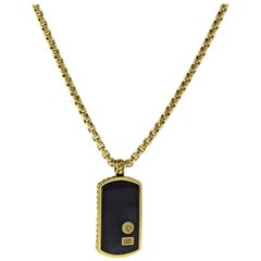 David Yurman Black Onyx Exotics Dog Tag Necklace