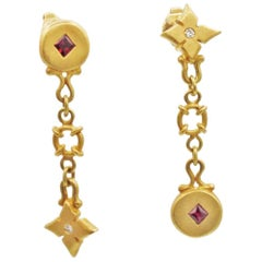 Renato Cipullo Diamond, Ruby & Gold Drop Earrings
