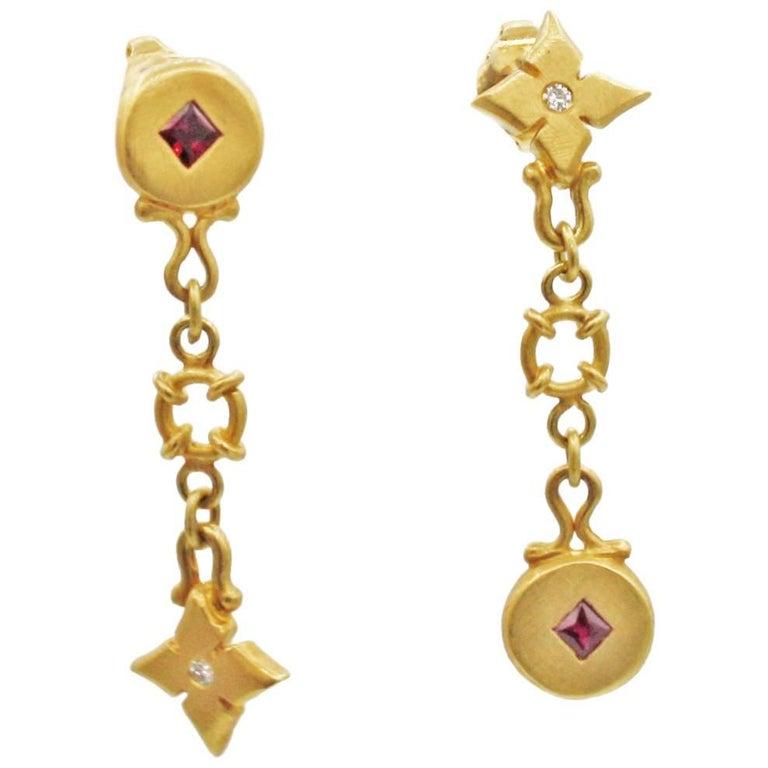 Renato Cipullo Diamond, Ruby & Gold Drop Earrings