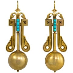 Victorian Gold Earrings with Bead Pendants and Turquoise Accents