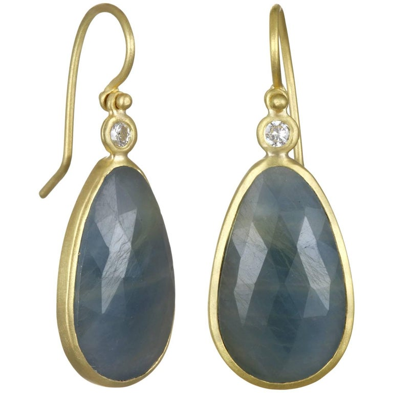 Faye Kim Blue Sapphire Gold Bezel Drop Earrings with Diamond For Sale