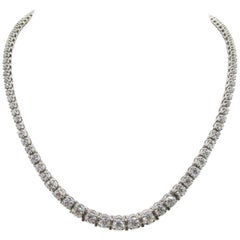 1950s Exquisite Diamond Riviere Platinum Necklace