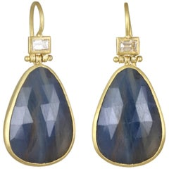 Faye Kim Blue Sapphire Diamond Hinged Earrings