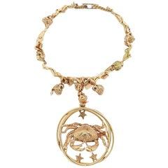 Ruser Retro Gold Sapphire Cherub Bracelet Cancer Zodiac Charm