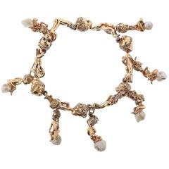 Ruser Retro Gold Pearl Sapphire Cherub Charm Bracelet