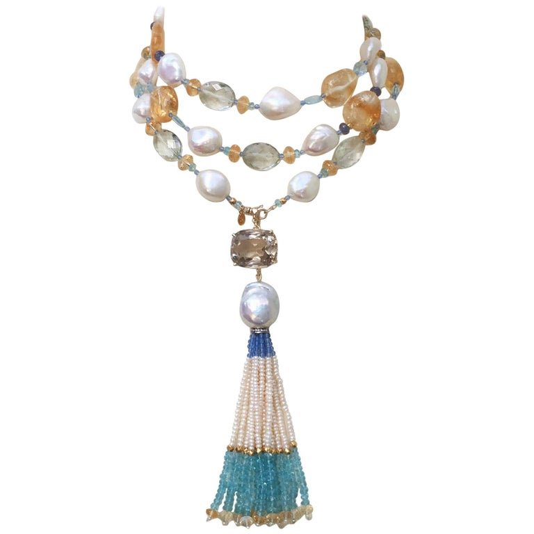 Multi Color Semi-Precious Beads and Pearl Sautoir, 14 K Gold Clasp by Marina J