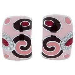 Roberto Coin Enamel Diamond Earrings