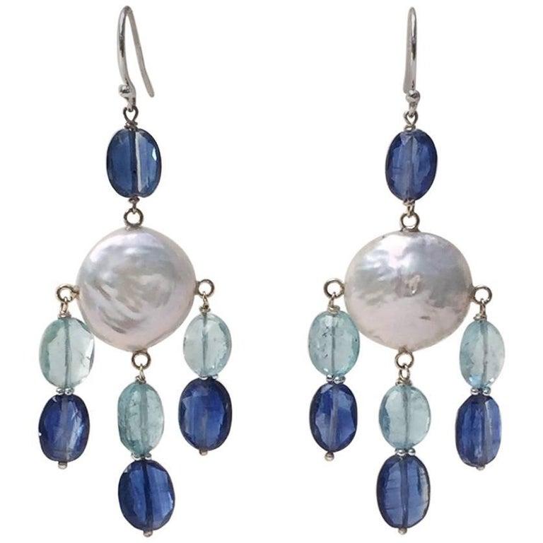 Pearl, Kyanite and Aqumarine Earrings with 14 Karat White Gold by Marina J