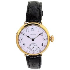 Waltham Yellow Gold Filled Campaign Style Original Enamel Dial Manual Wristwatch