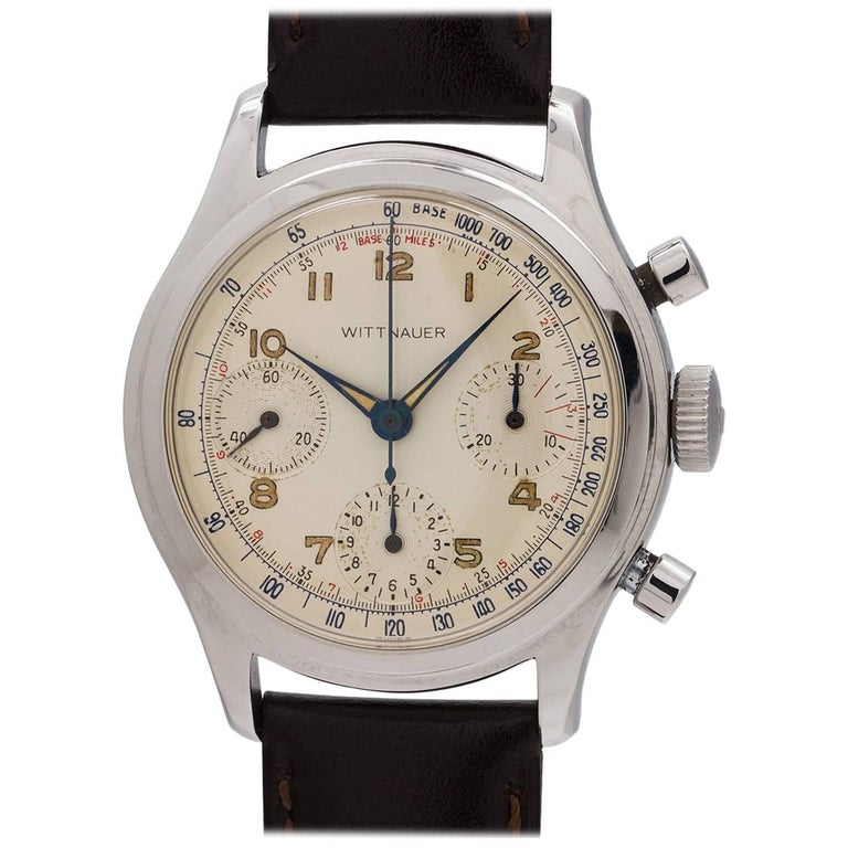 Wittnauer Stainless Steel Vintage Chronograph manual Wristwatch circa 1950s