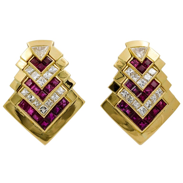 Ruby  Diamond Gold Chevron Earclips
