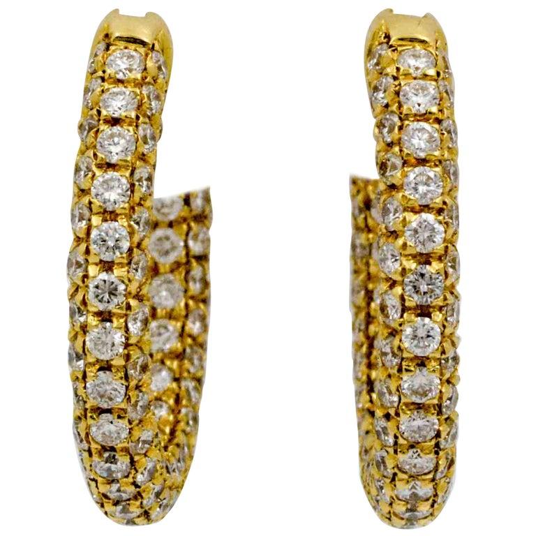18 Karat Yellow Gold 3.82 Carat Diamond Hoop Earrings
