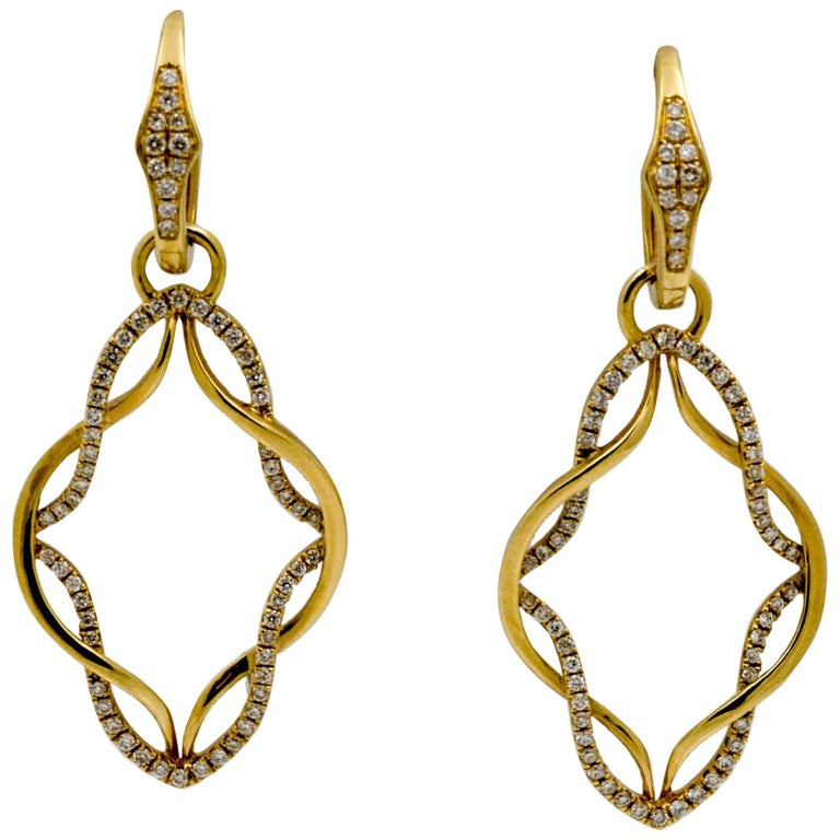 Katie Decker 18 Karat Yellow Gold Dangle Hoop 0.51 Carat Diamonds Earrings