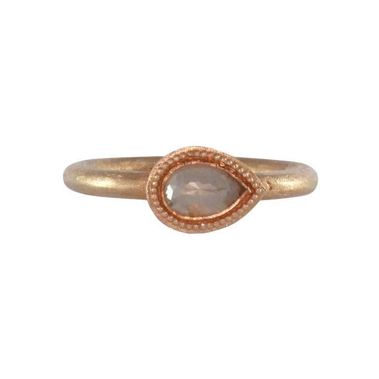 Luca Jouel Pear Rose Cut Diamond Rose Gold Ring