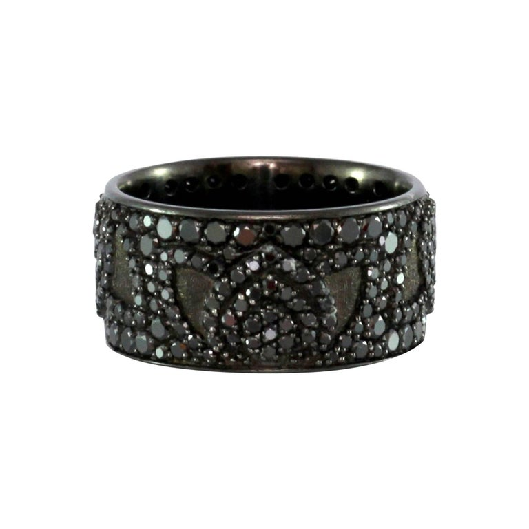 Luca Jouel Black Diamond Palladium Lotus Ring