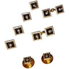 Garrard Art Deco Dress Set Platinum, Yellow Gold, Onyx, Diamonds