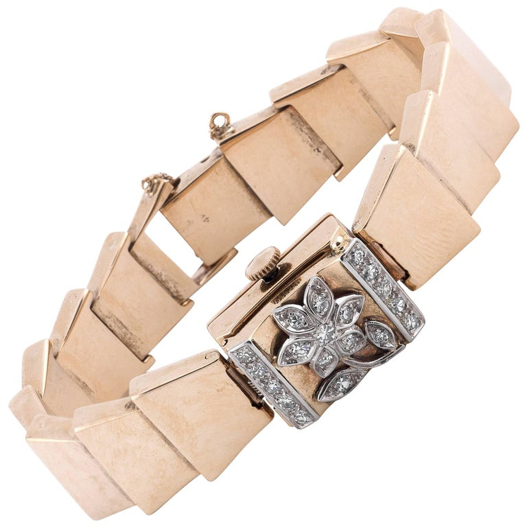 Altair Ladies Swiss Gold Diamond Hinged Covered Integral Bracelet Wristwatch