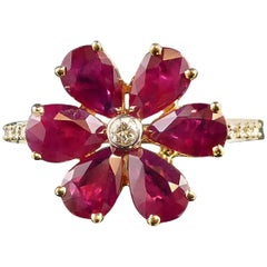 Vintage Ruby Diamond Cluster Ring, Daisy Design, Diamond Shoulders, 18 Carat