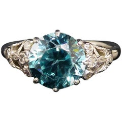 1940s Blue Zircon Solitaire Ring, Diamond Shoulders, 18 Carat White Gold