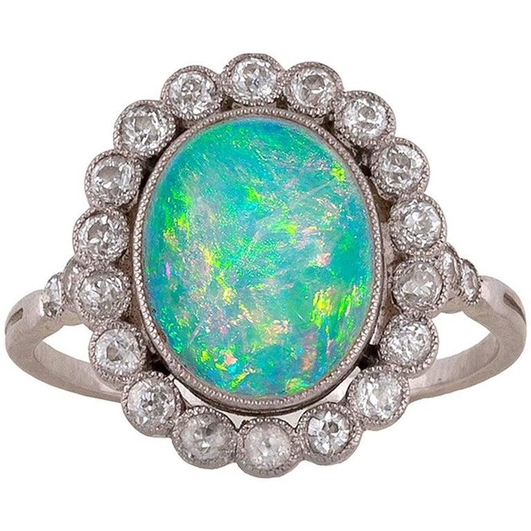 Black Opal Diamond Cluster Ring