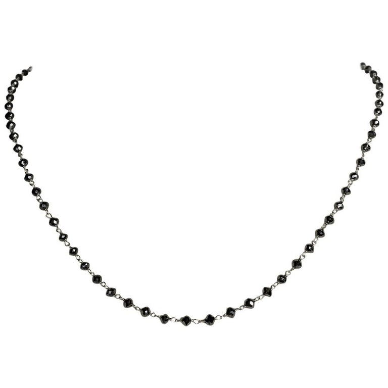 15.12 Carat Black Diamond and 18 Karat White Gold Short Necklace
