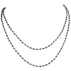 19.22 Carat Black Diamond and 18 Karat White Gold Long Necklace