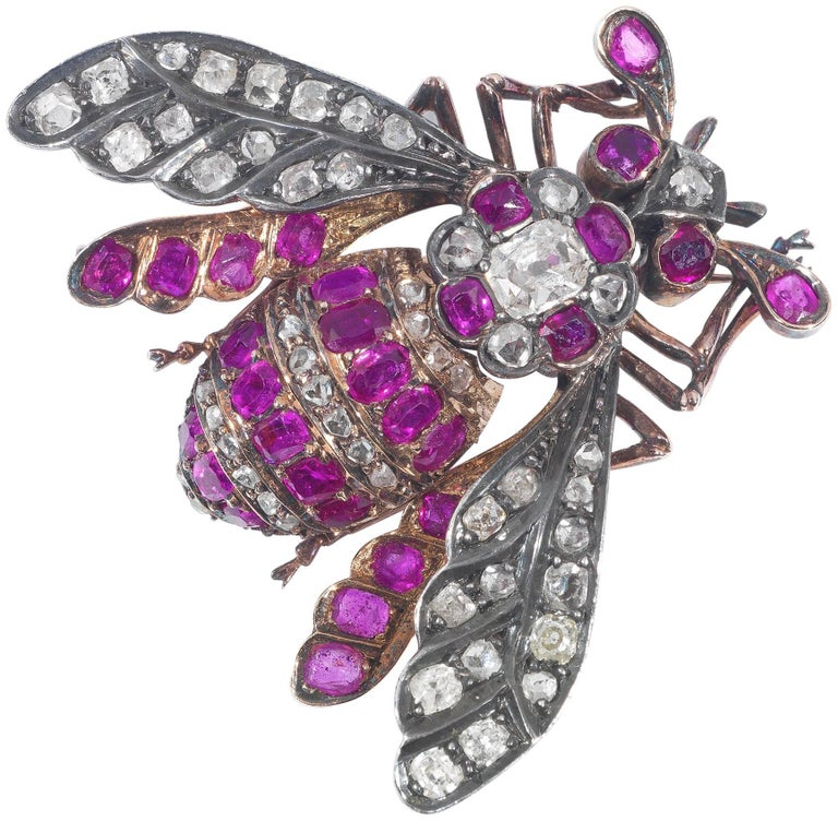 Late 19th Century Ruby and Diamond Bee Brooch