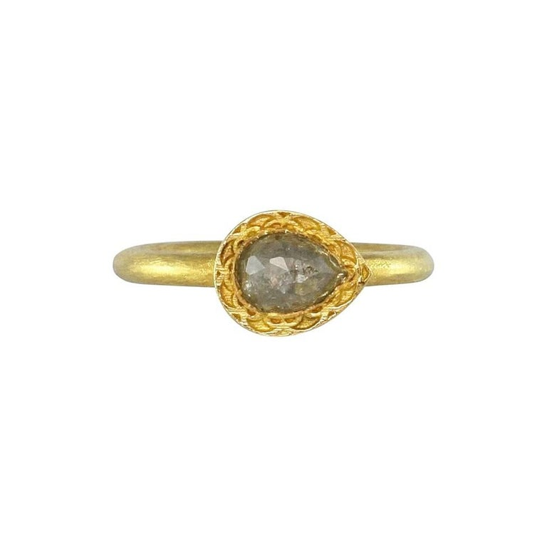 Luca Jouel Rose Cut Pear Diamond Solitaire Gold Ring