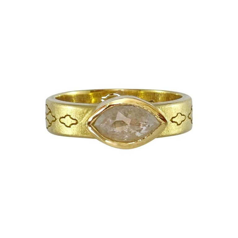 Luca Jouel Rose Cut Marquise Diamond Yellow Gold Arabesque Ring
