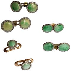 Art Deco Dress Set, Platinum, Gold, Jade, Rose Diamonds