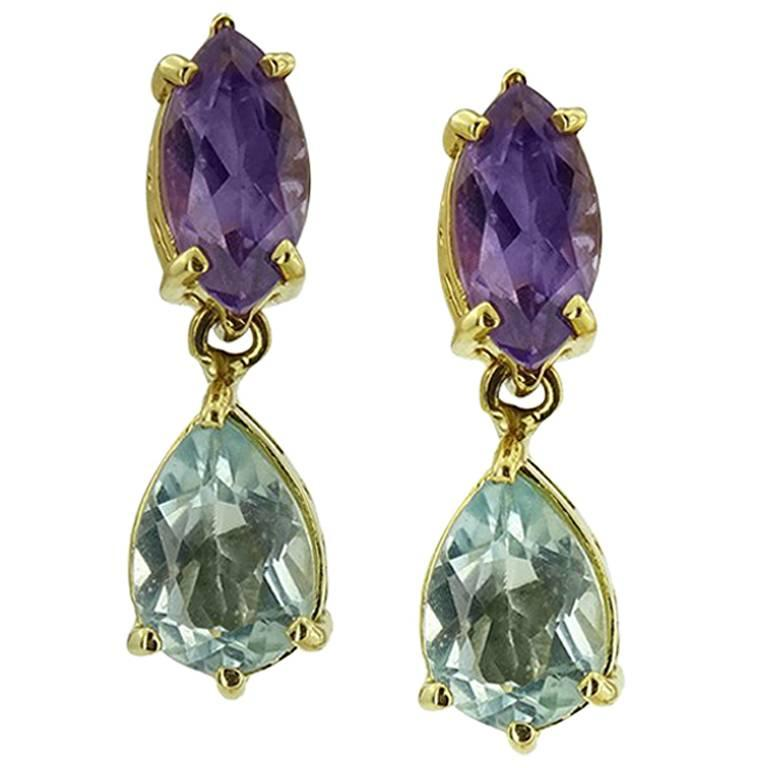 Yellow Gold Pe With Marquise Cut Amethyst And Pear Blue Topaz Earrings