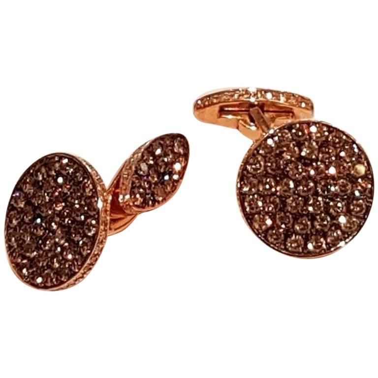 Brown and White Diamond Red Gold Cufflinks For Sale