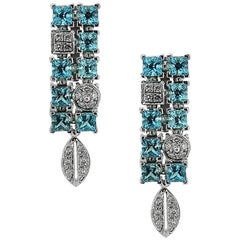 White Gold Drop with Blue Topaz 6.77 ct and 0.57 ct Diamond Earrings