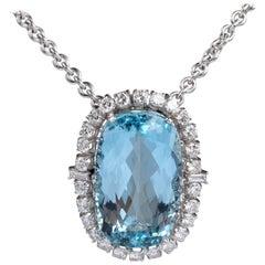 Aquamarine and Diamonds Pendant