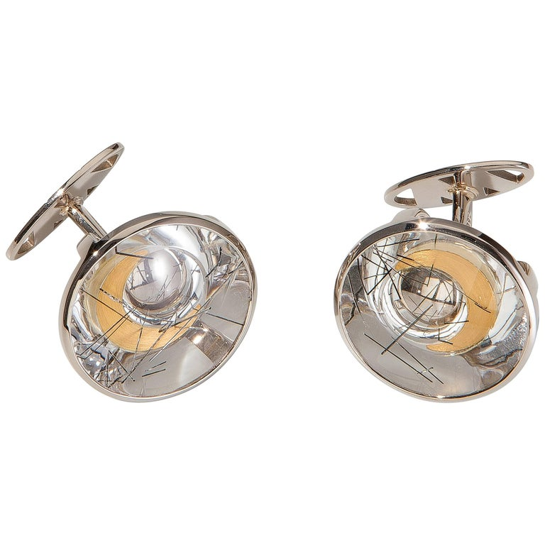 Cufflinks, White Gold, Yellow Gold, Rock Crystal with Tourmaline Needles 1