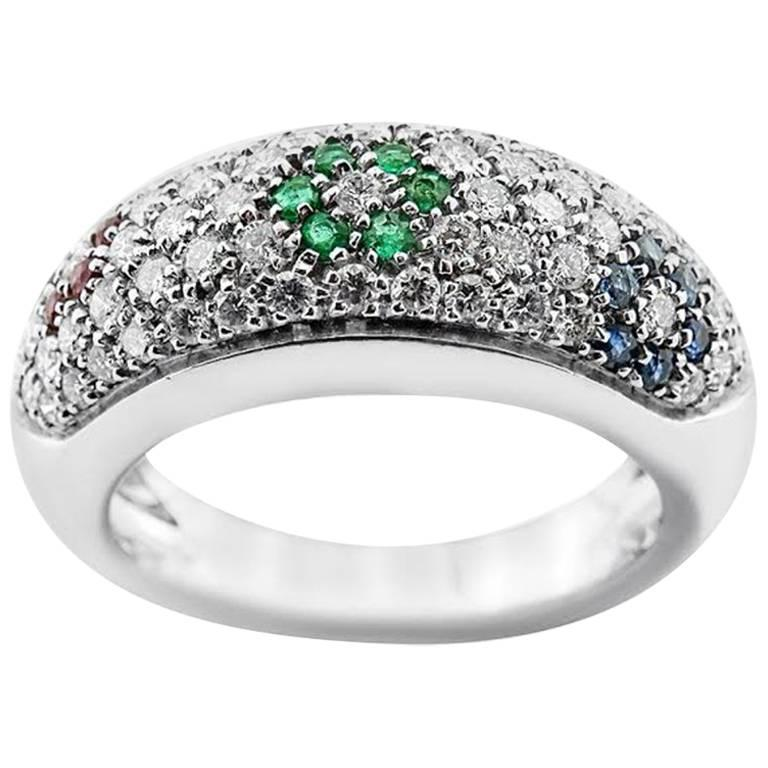 White Gold with Brilliant Cut Rubies, Sapphire Emerald and 1.01 ct Diamond Ring