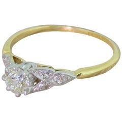 Art Deco 0.53 Carat Old Cut Diamond Engagement Ring