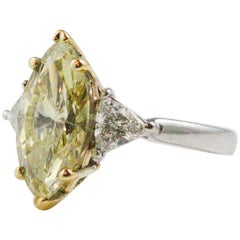 3.60 Carat GIA Certified Marquise Cut Fancy Light Brownish Yellow Diamond Ring