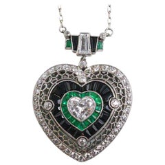 Heart Shape Diamond Emerald Onyx Necklace