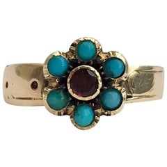 Victorian Love Token Ring Forget-Me-Not Turquoise Flower Buckle Flat Cut Garnet