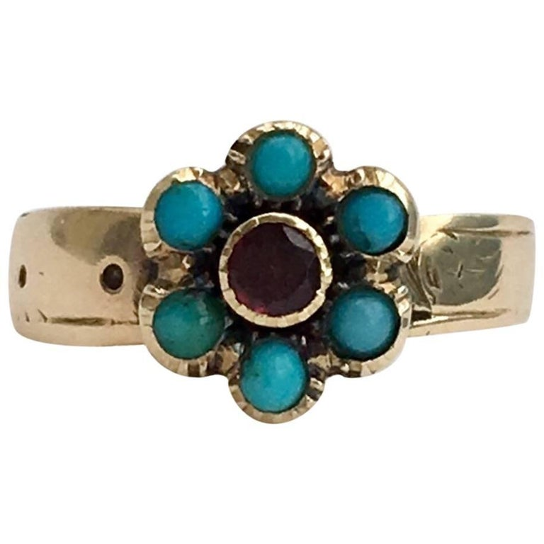 Victorian Flat Cut Garnet Love Token Ring Forget-Me-Not Turquoise Flower Buckle