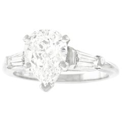 1.69 Carat D Color Pear Shape Diamond Engagement Platinum Ring GIA