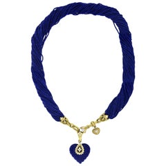 Stambolian Lapis Heart Enhancer Pendant with Lapis Beads Necklace