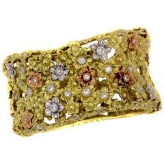 Stambolian Tri-Color Gold and Diamond Cuff