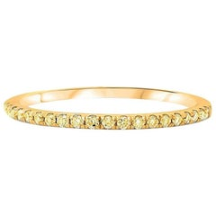 Yellow Diamond Pave Band Ring in Yellow Gold