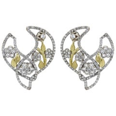 Stambolian Two-Tone Gold and Diamond Cluster Earrings